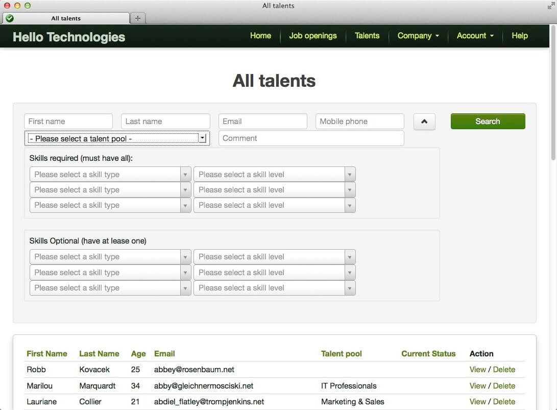 flexible talent search engine