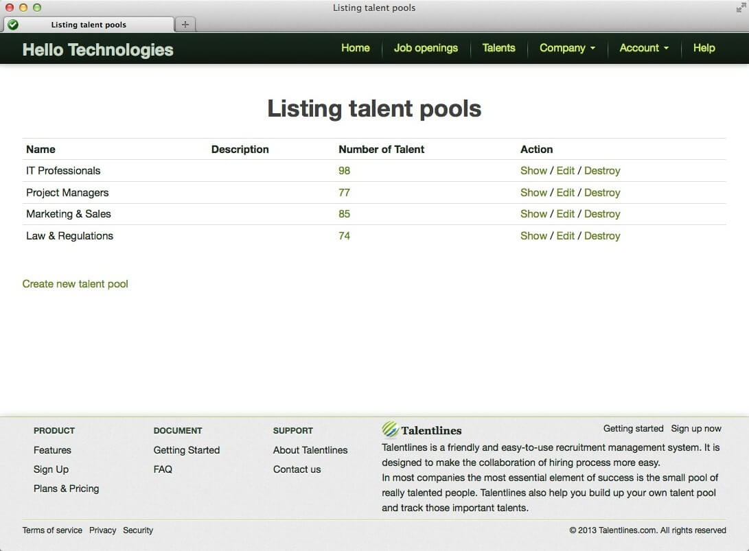 manage talent pools