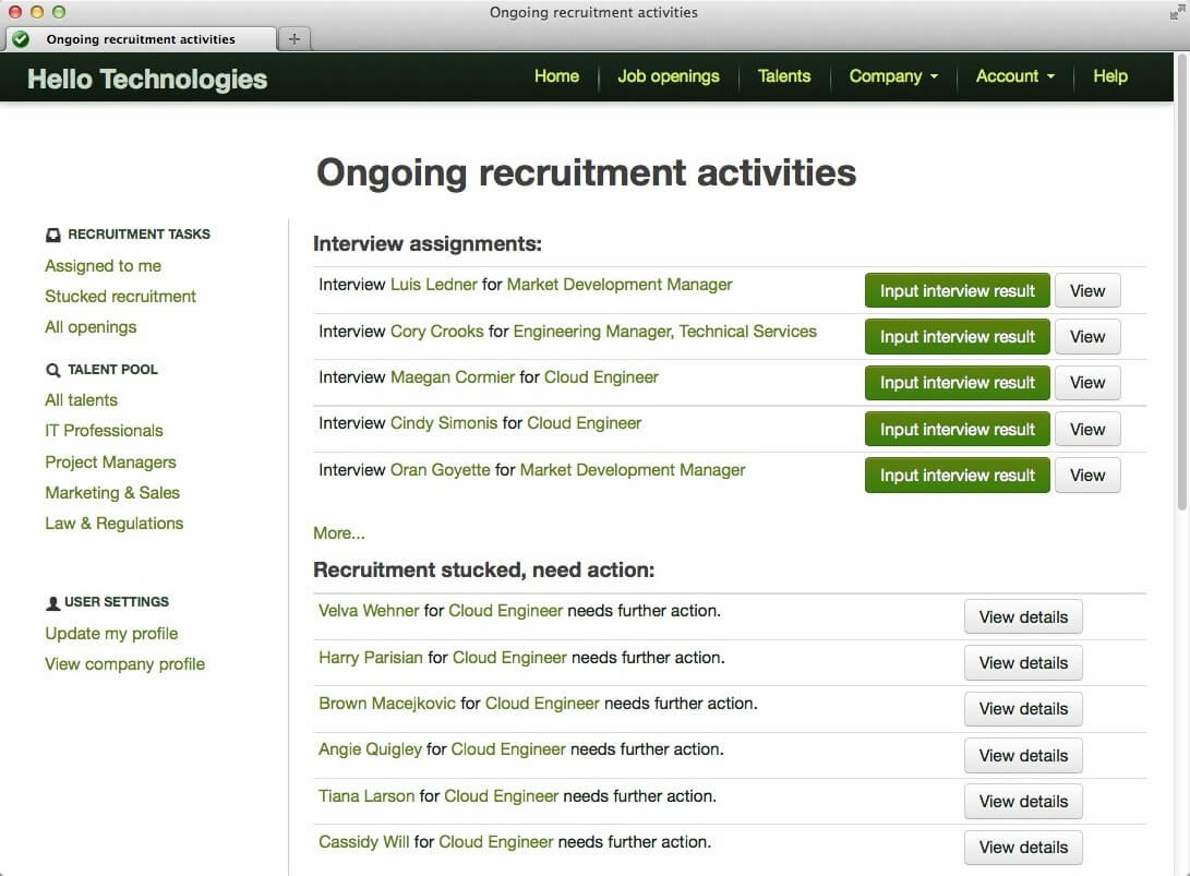 Recruitment tasks management