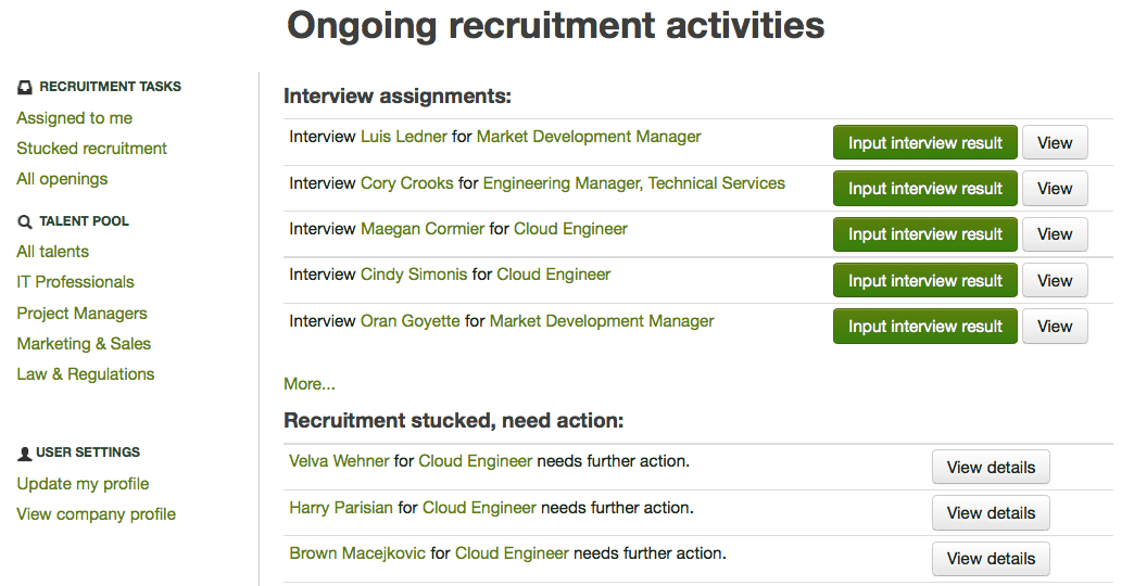 uick access to user's interview assignment and recruiting tasks